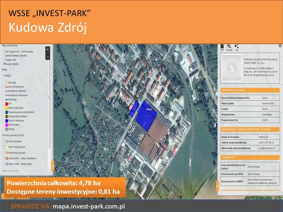 """Kudowa Zdrój WSSE """"INVEST-PARK Powierzchnia całkowita: 4,78 ha"""