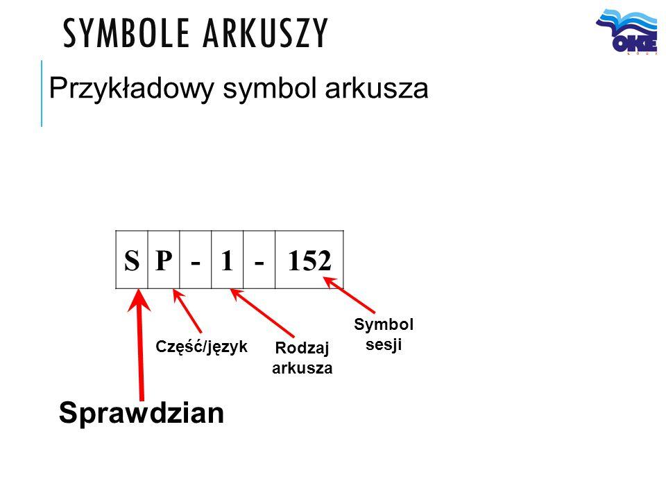 symbole arkuszy Przykładowy symbol arkusza S P - 1 152 Sprawdzian