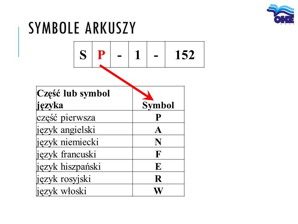 symbole arkuszy S P - 1 152 Część lub symbol języka Symbol