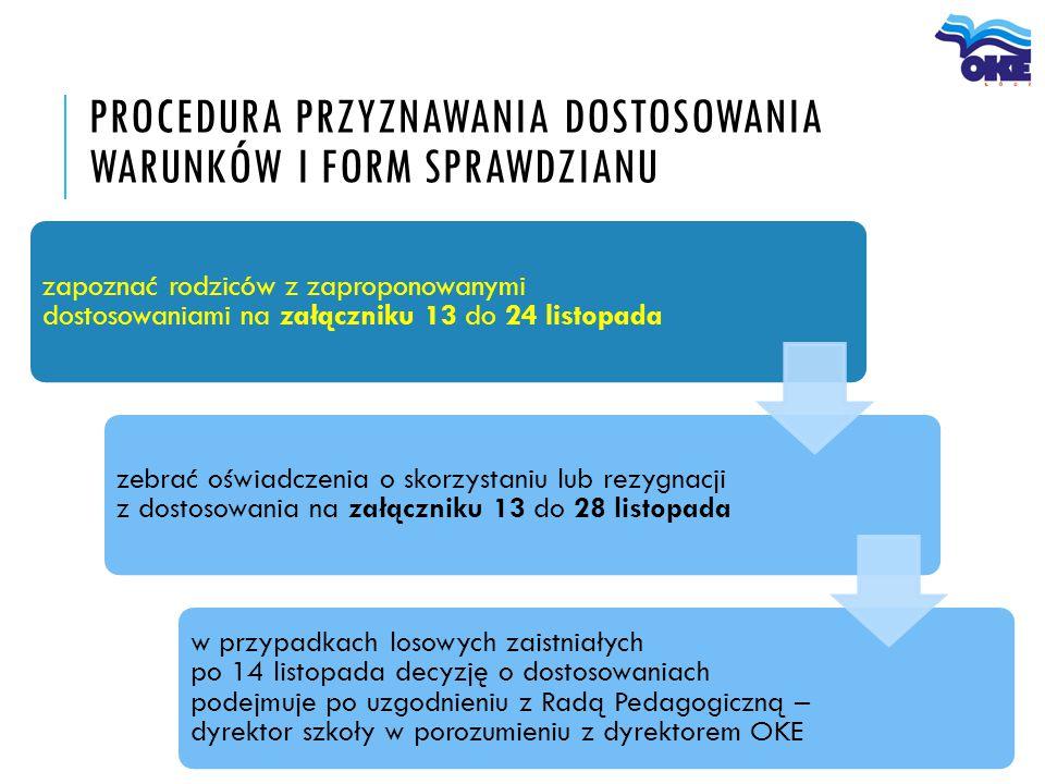 Procedura przyznawania dostosowania warunków i form sprawdzianu