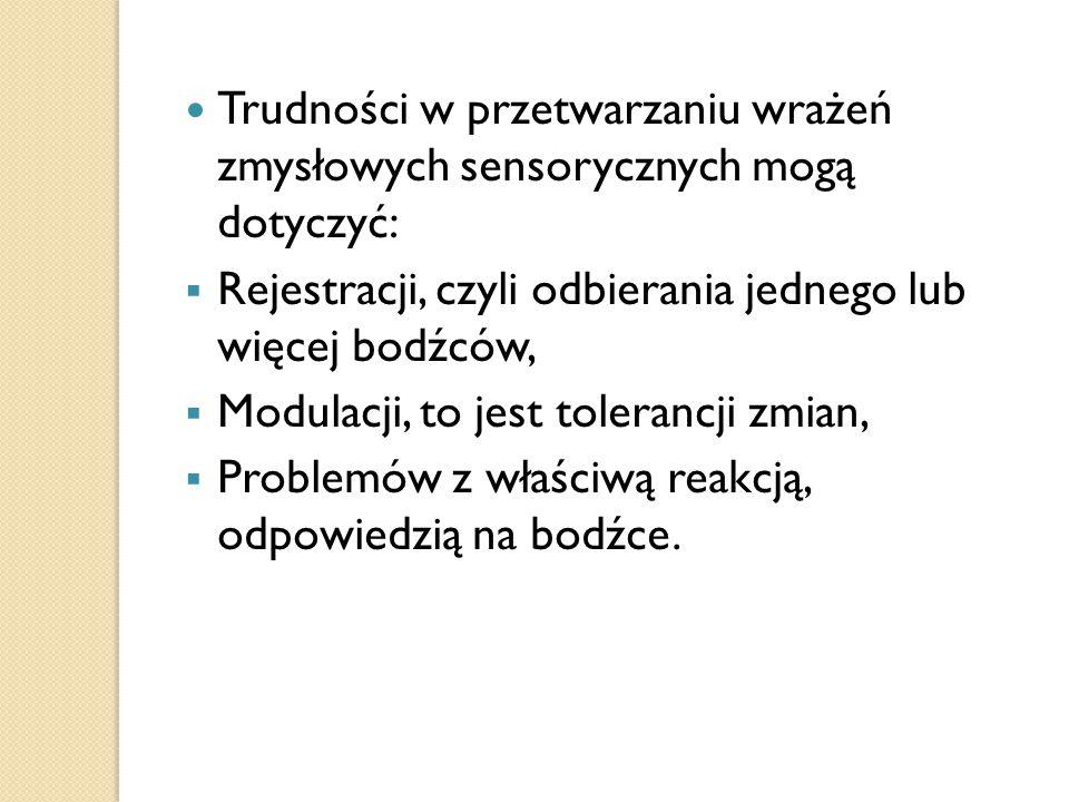 Trudności w przetwarzaniu wrażeń zmysłowych sensorycznych mogą dotyczyć: