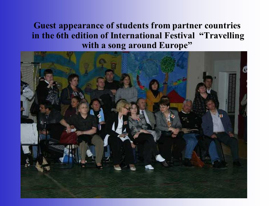 Guest appearance of students from partner countries in the 6th edition of International Festival Travelling with a song around Europe