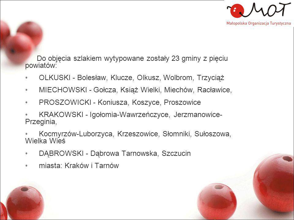 Do objęcia szlakiem wytypowane zostały 23 gminy z pięciu powiatów: