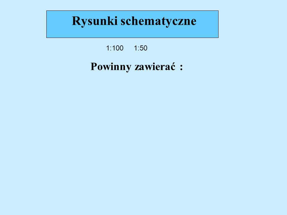 Rysunki schematyczne 1:100 1:50 Powinny zawierać :