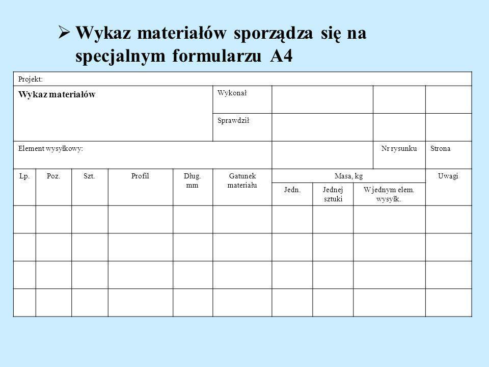 Wykaz materiałów sporządza się na specjalnym formularzu A4