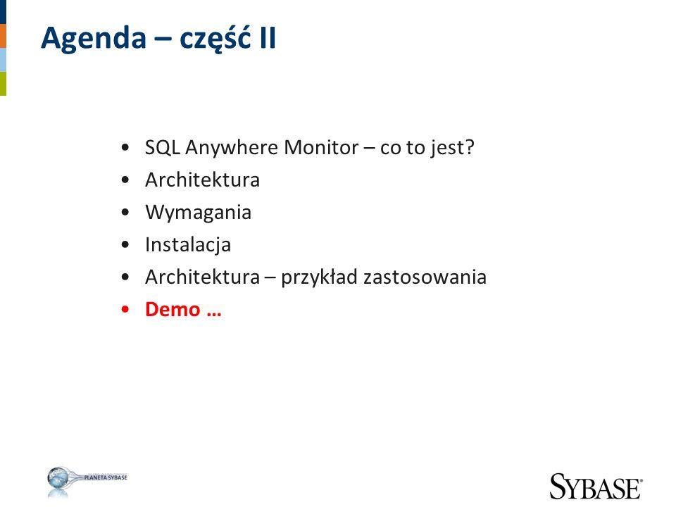Agenda – część II SQL Anywhere Monitor – co to jest Architektura
