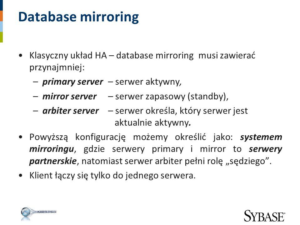 Database mirroring Klasyczny układ HA – database mirroring musi zawierać przynajmniej: primary server – serwer aktywny,