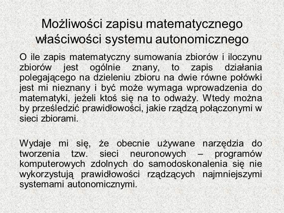 Możliwości zapisu matematycznego właściwości systemu autonomicznego