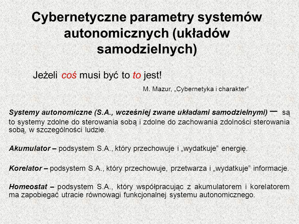 Cybernetyczne parametry systemów autonomicznych (układów samodzielnych)