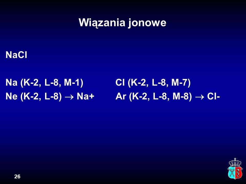Wiązania jonowe NaCl Na (K-2, L-8, M-1) Cl (K-2, L-8, M-7)