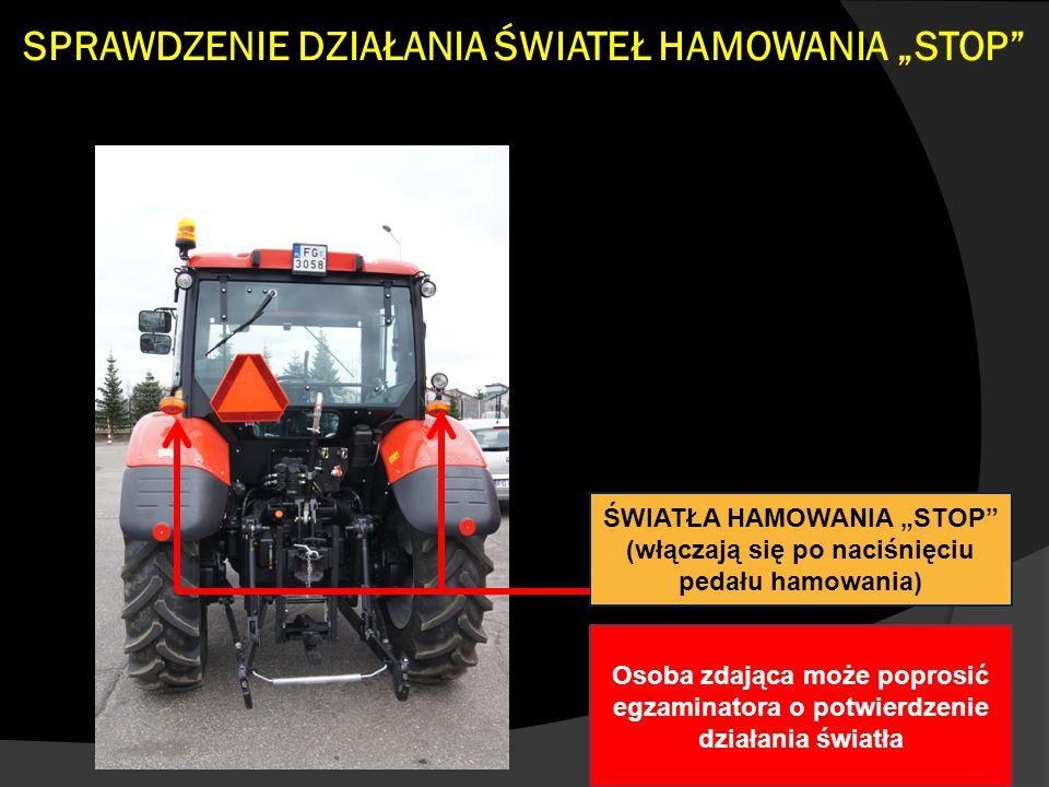 """SPRAWDZENIE DZIAŁANIA ŚWIATEŁ HAMOWANIA """"STOP"""