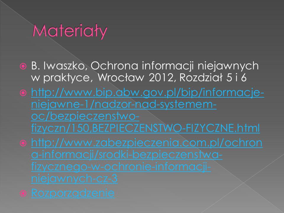Materiały B. Iwaszko, Ochrona informacji niejawnych w praktyce, Wrocław 2012, Rozdział 5 i 6.