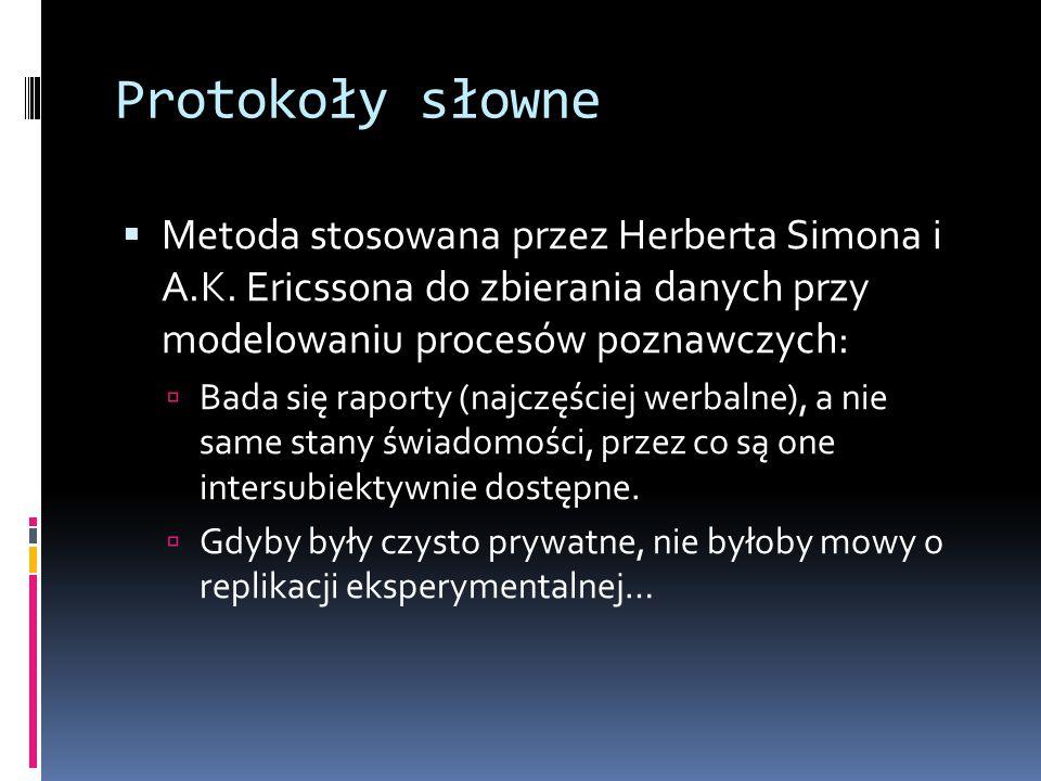 Protokoły słowne Metoda stosowana przez Herberta Simona i A.K. Ericssona do zbierania danych przy modelowaniu procesów poznawczych: