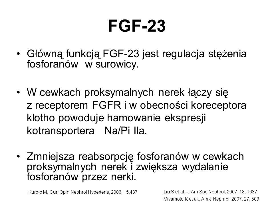 FGF-23 Główną funkcją FGF-23 jest regulacja stężenia fosforanów w surowicy.