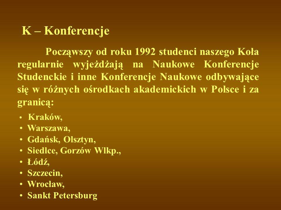 K – Konferencje Warszawa, Gdańsk, Olsztyn, Siedlce, Gorzów Wlkp.,