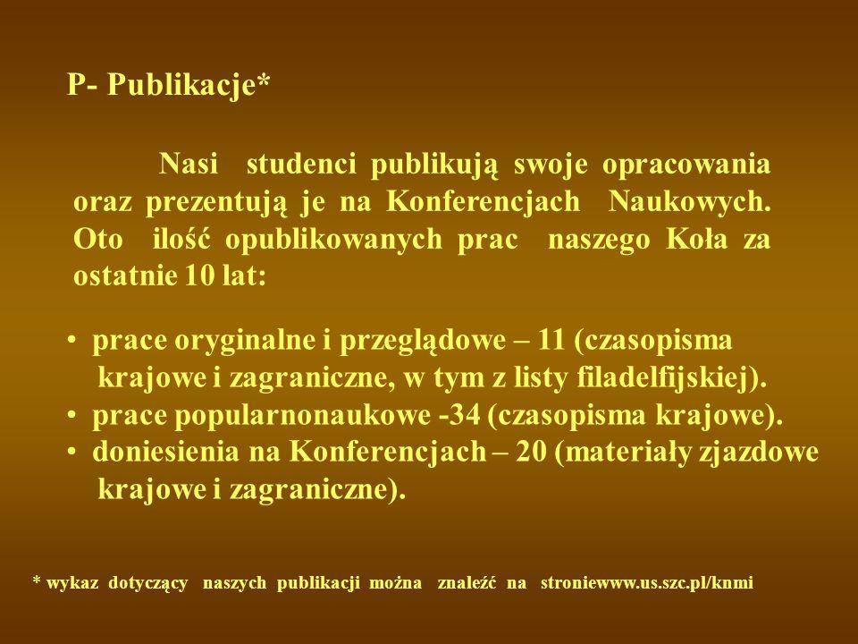 P- Publikacje* prace oryginalne i przeglądowe – 11 (czasopisma