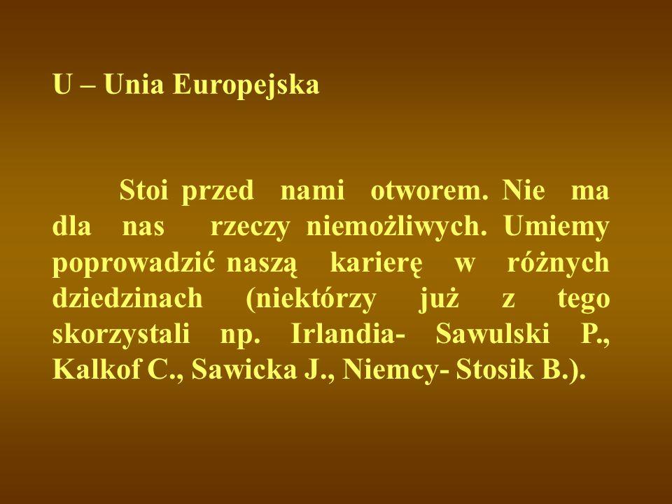 U – Unia Europejska