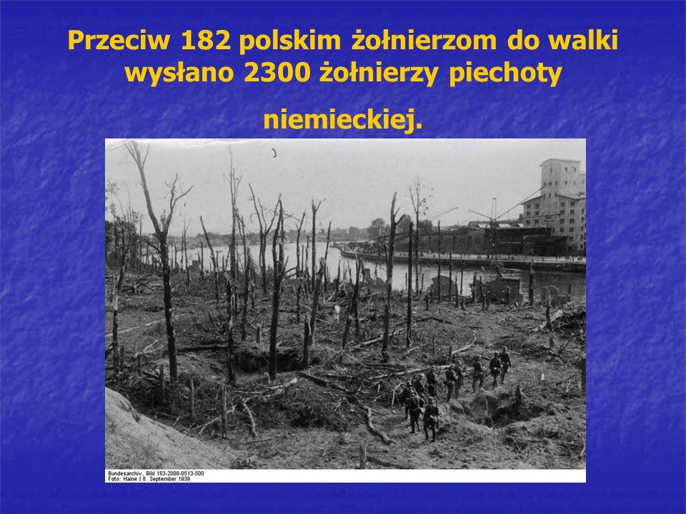 Przeciw 182 polskim żołnierzom do walki wysłano 2300 żołnierzy piechoty niemieckiej.