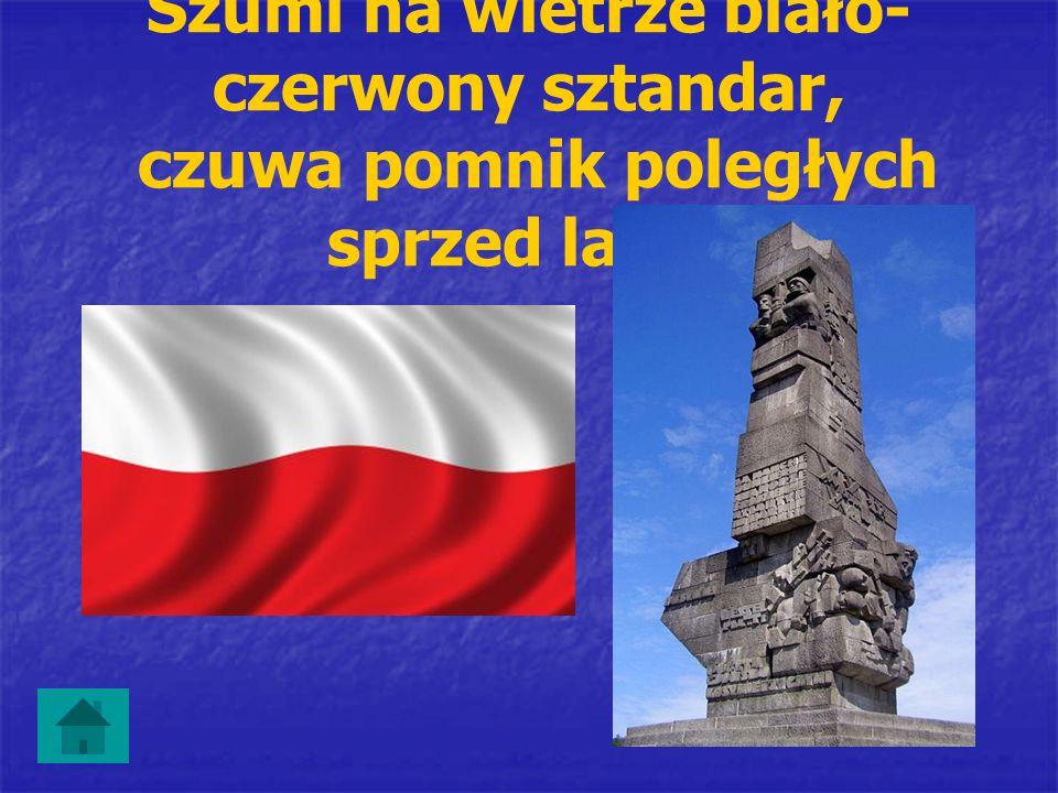 Szumi na wietrze biało-czerwony sztandar, czuwa pomnik poległych sprzed lat …