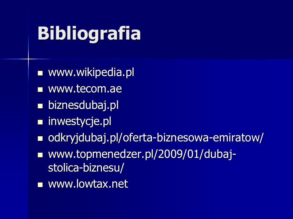 Bibliografia www.wikipedia.pl www.tecom.ae biznesdubaj.pl