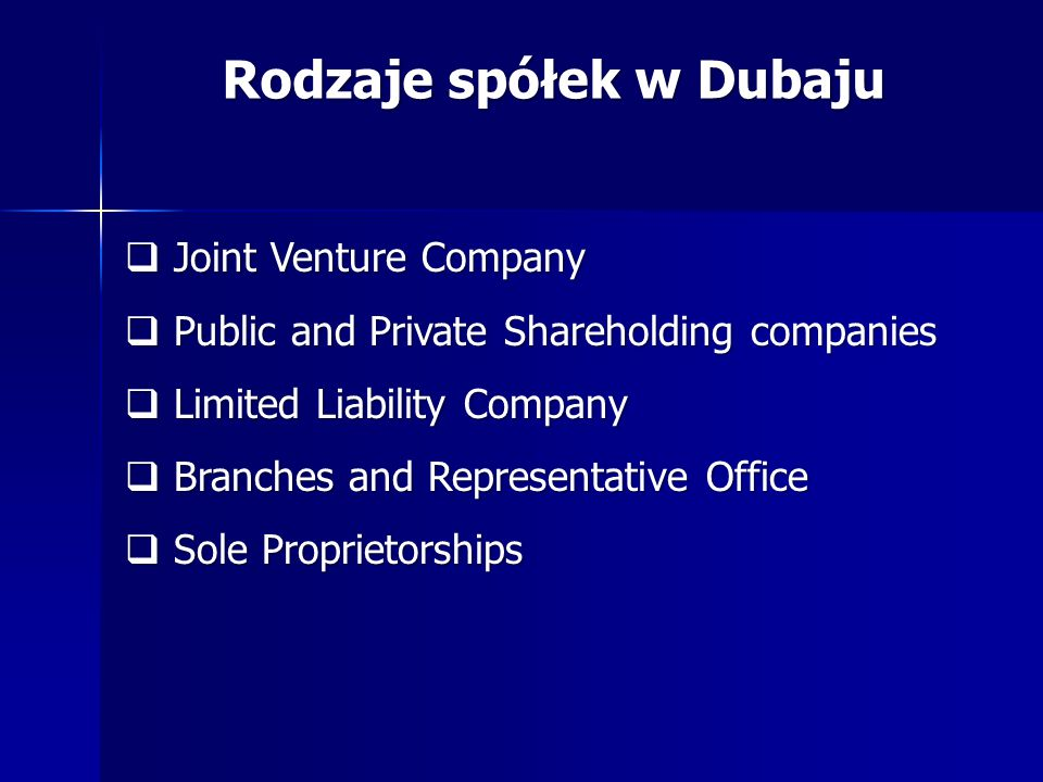 Rodzaje spółek w Dubaju