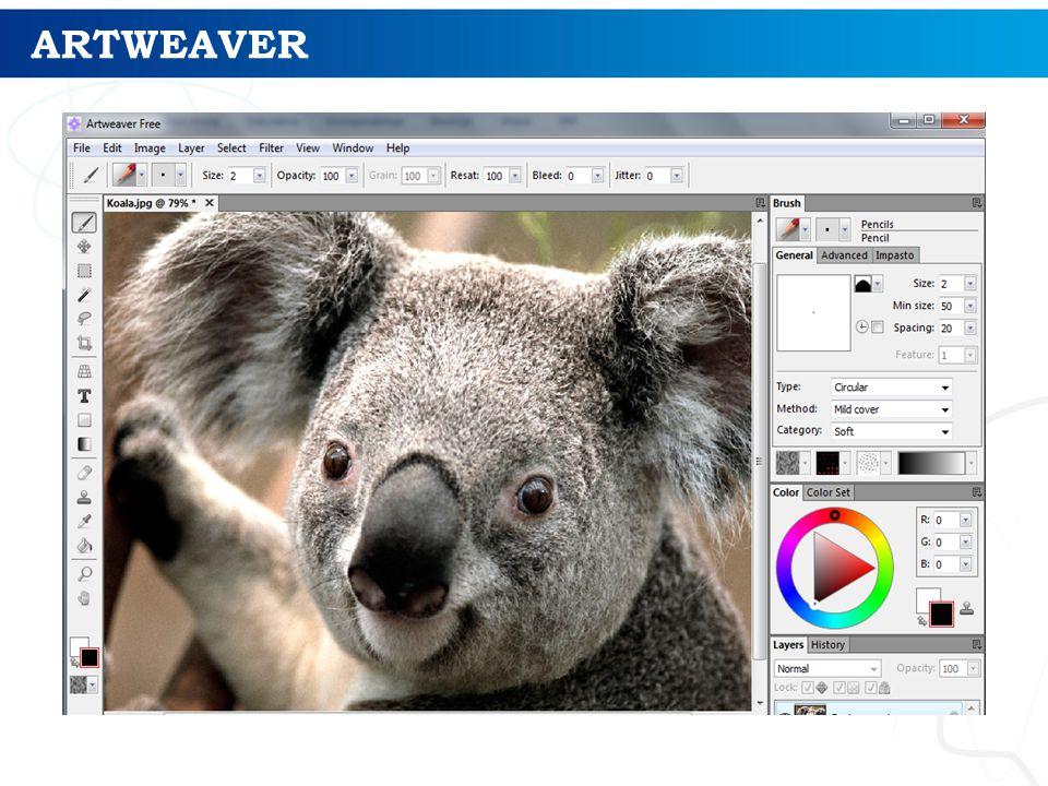 ARTWEAVER Artweaver to darmowy program do tworzenia artystycznej grafiki komputerowej. Program naśladuje realne pędzle.