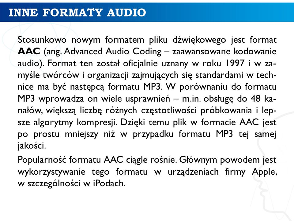 INNE FORMATY AUDIO