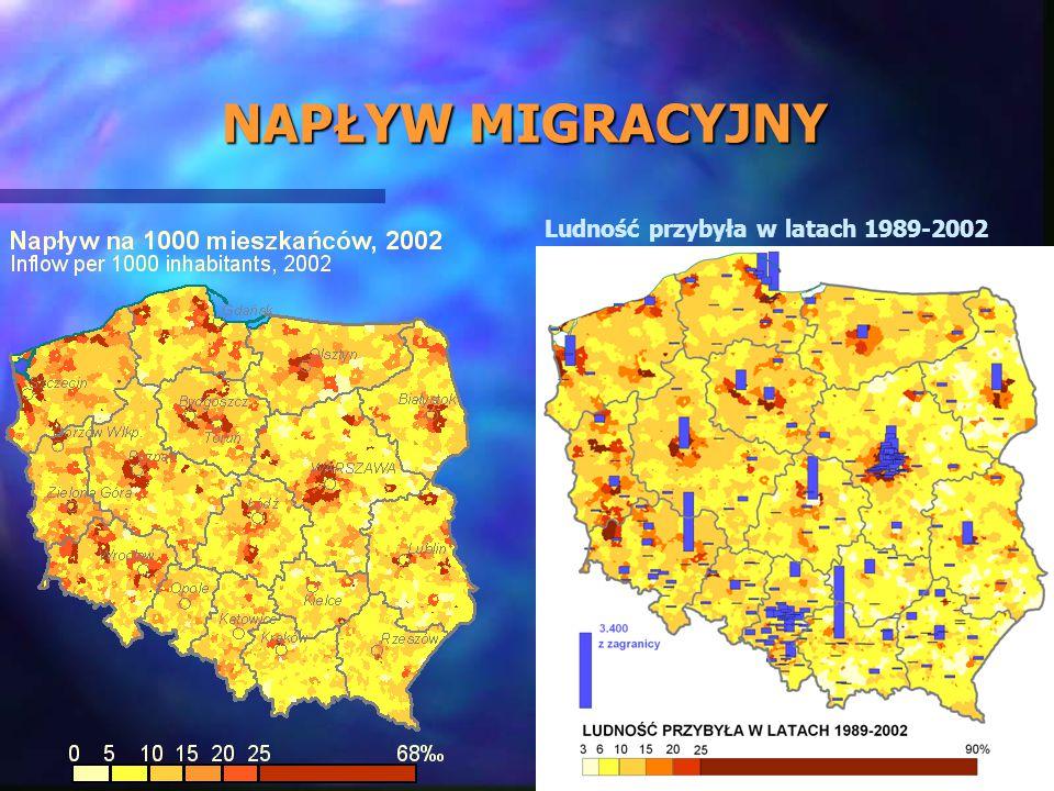 NAPŁYW MIGRACYJNY Ludność przybyła w latach 1989-2002