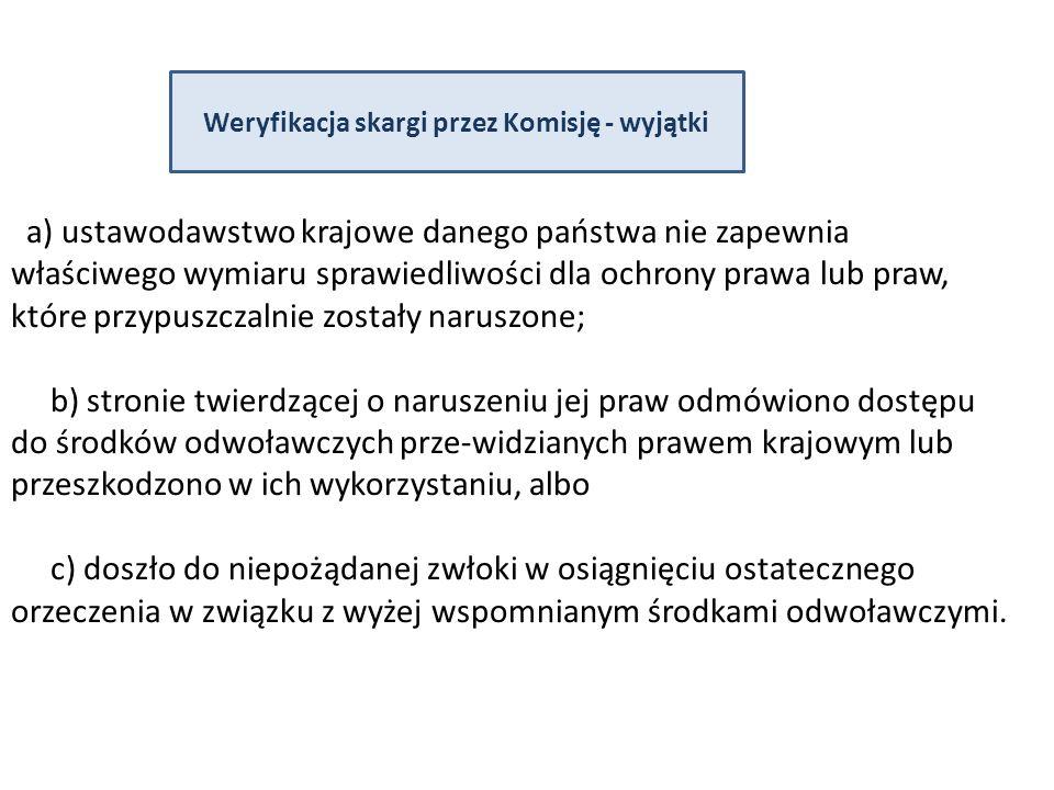 Weryfikacja skargi przez Komisję - wyjątki