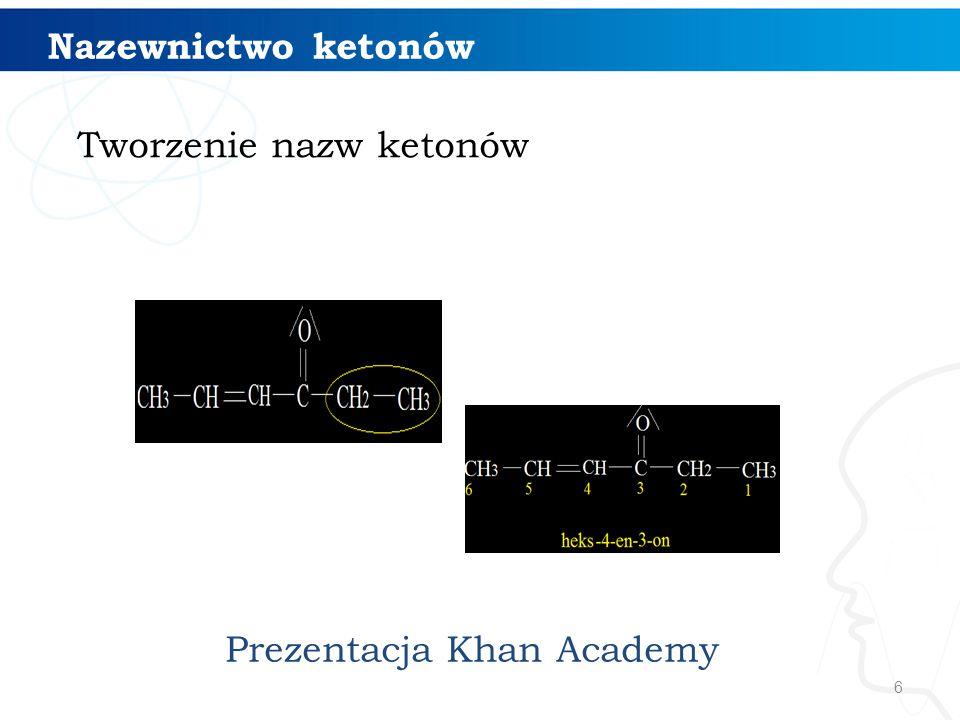 Nazewnictwo ketonów Tworzenie nazw ketonów Prezentacja Khan Academy