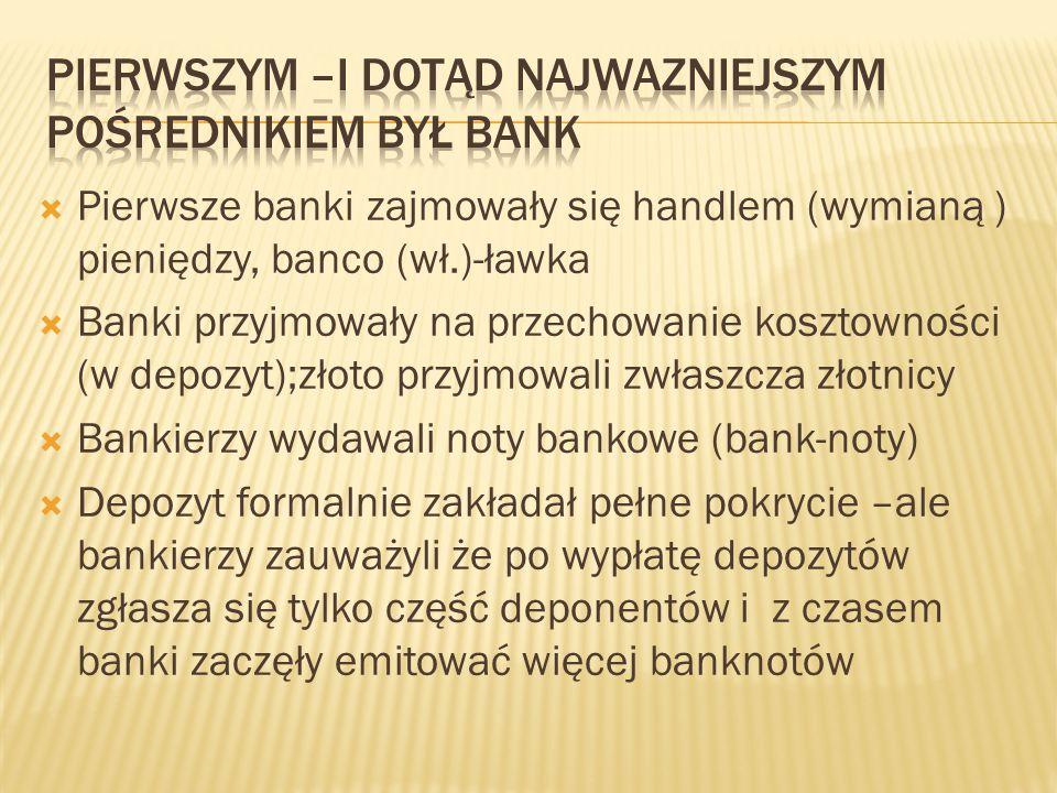 Pierwszym –i dotąd najwazniejszym pośrednikiem był bank