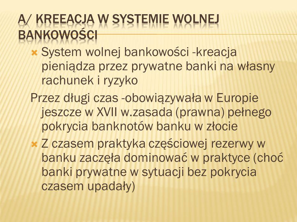 A/ kreeacja w systemie wolnej bankowości