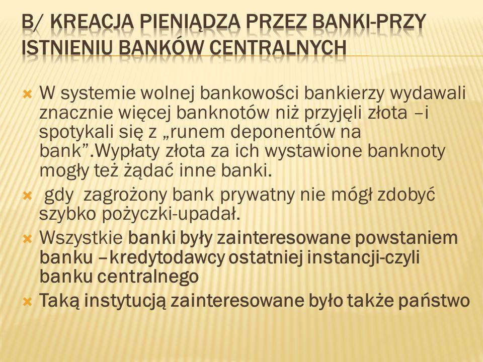 B/ Kreacja pieniądza przez banki-Przy istnieniu banków centralnych