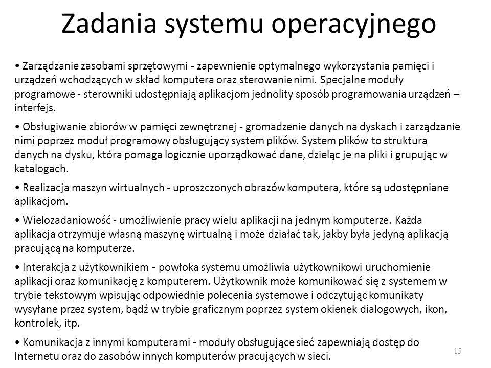 Zadania systemu operacyjnego