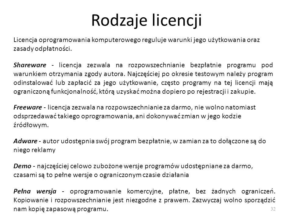 Rodzaje licencji Licencja oprogramowania komputerowego reguluje warunki jego użytkowania oraz zasady odpłatności.