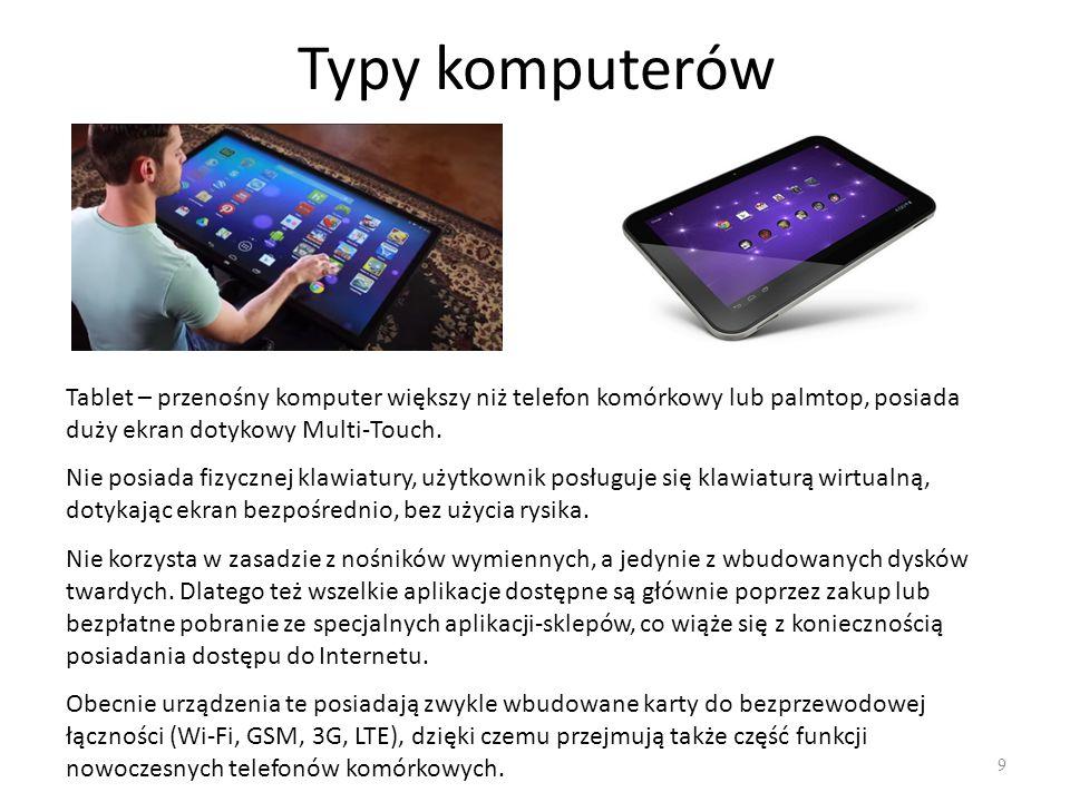 Typy komputerów Tablet – przenośny komputer większy niż telefon komórkowy lub palmtop, posiada duży ekran dotykowy Multi-Touch.