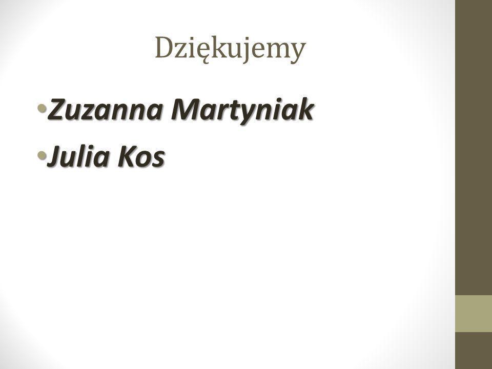 Dziękujemy Zuzanna Martyniak Julia Kos