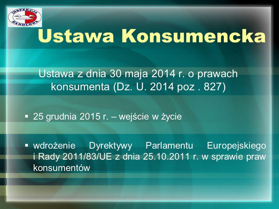Ustawa Konsumencka Ustawa z dnia 30 maja 2014 r. o prawach konsumenta (Dz. U. 2014 poz . 827) 25 grudnia 2015 r. – wejście w życie.