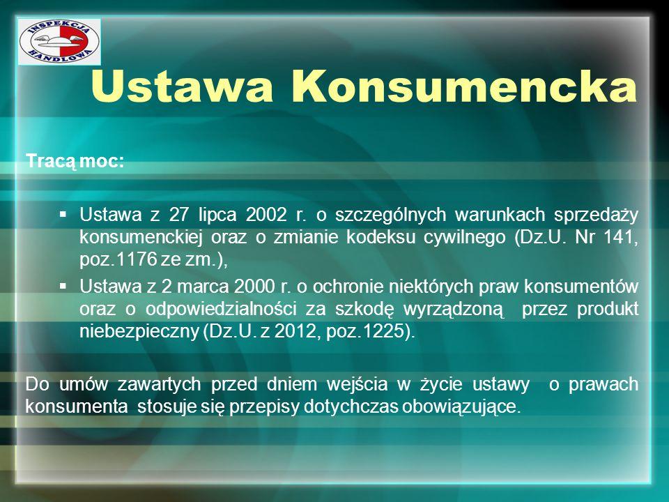 Ustawa Konsumencka Tracą moc: