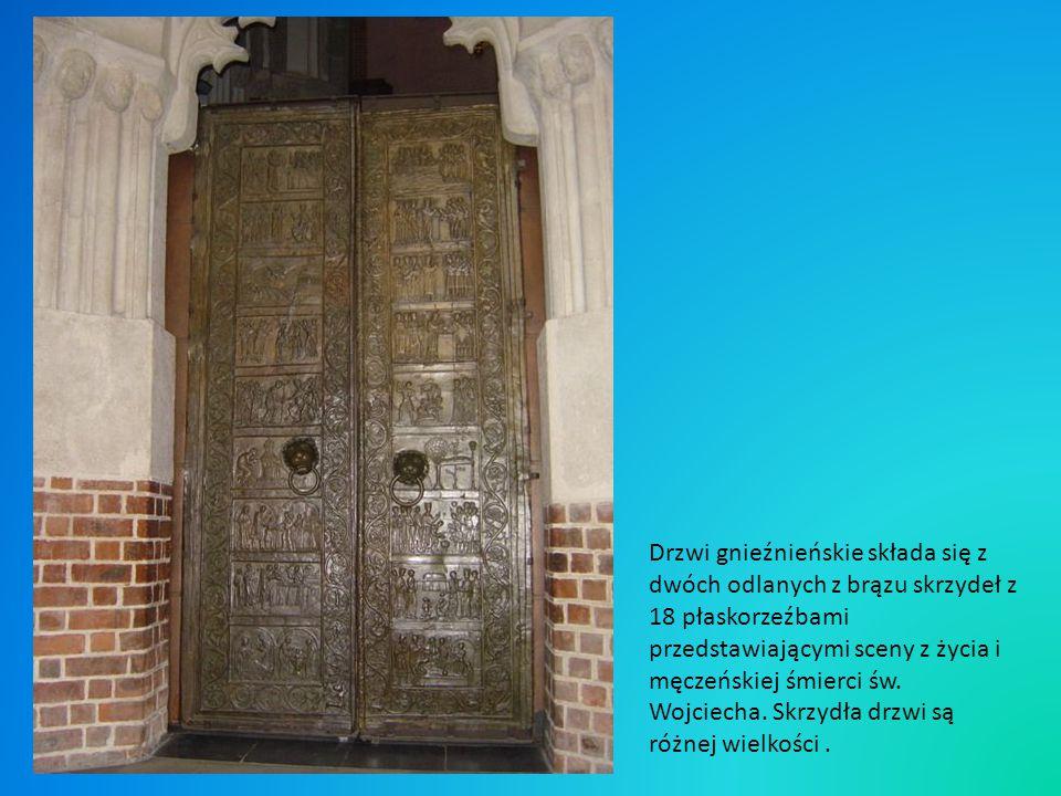 Drzwi gnieźnieńskie składa się z dwóch odlanych z brązu skrzydeł z 18 płaskorzeźbami przedstawiającymi sceny z życia i męczeńskiej śmierci św.
