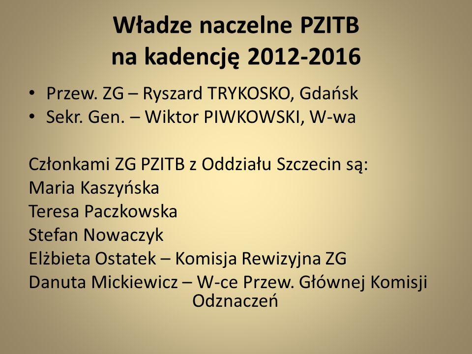 Władze naczelne PZITB na kadencję 2012-2016