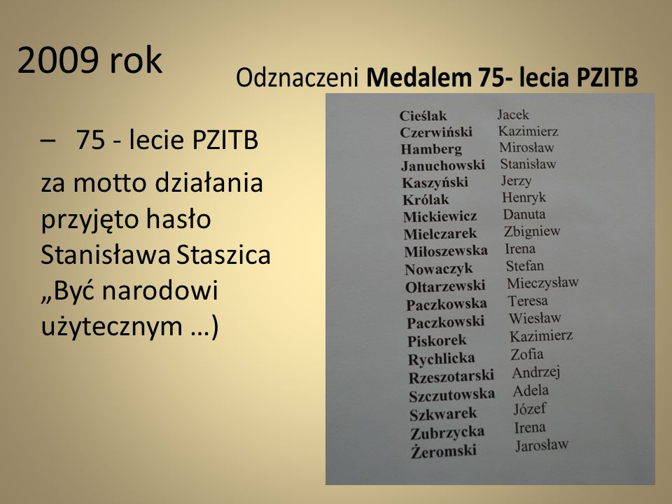 2009 rok – 75 - lecie PZITB.