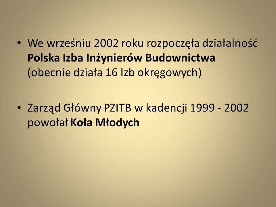 We wrześniu 2002 roku rozpoczęła działalność Polska Izba Inżynierów Budownictwa (obecnie działa 16 Izb okręgowych)