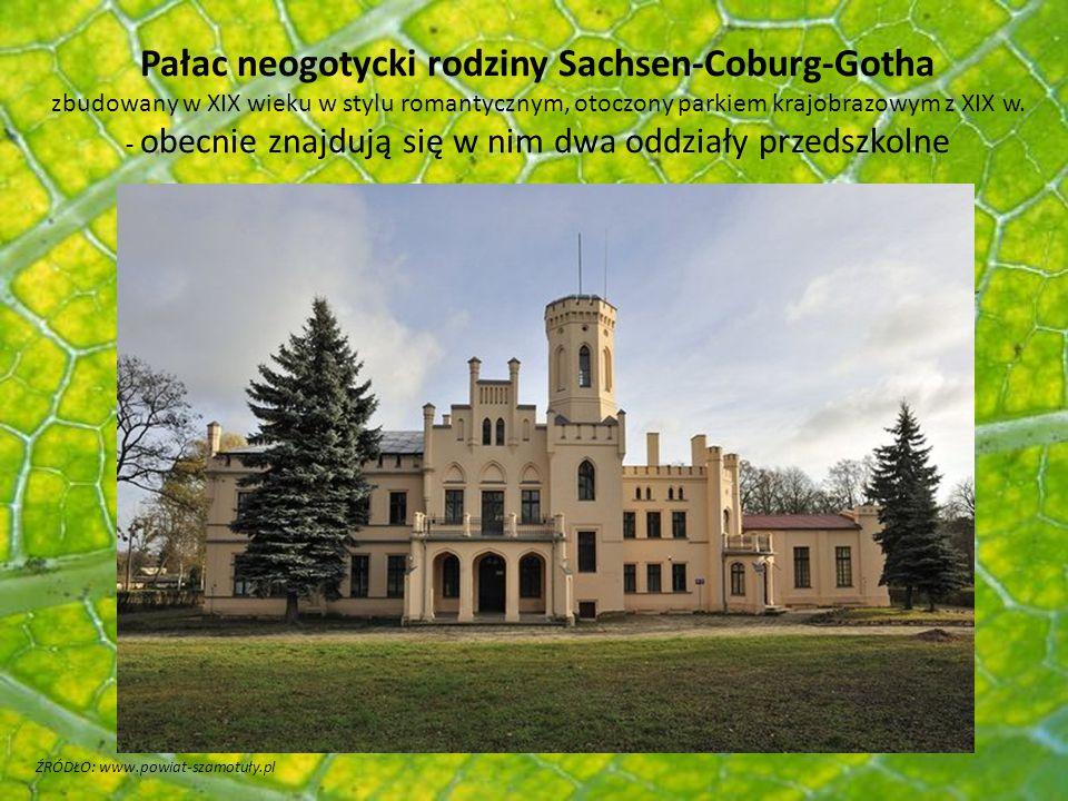 Pałac neogotycki rodziny Sachsen-Coburg-Gotha zbudowany w XIX wieku w stylu romantycznym, otoczony parkiem krajobrazowym z XIX w. - obecnie znajdują się w nim dwa oddziały przedszkolne