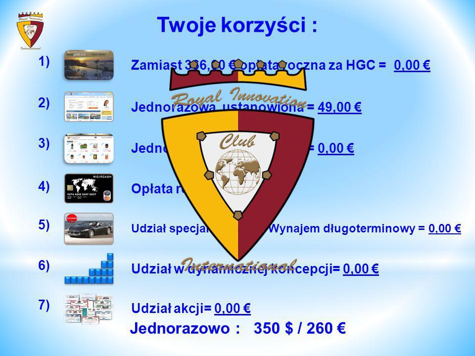 Twoje korzyści : Jednorazowo : 350 $ / 260 € 1)