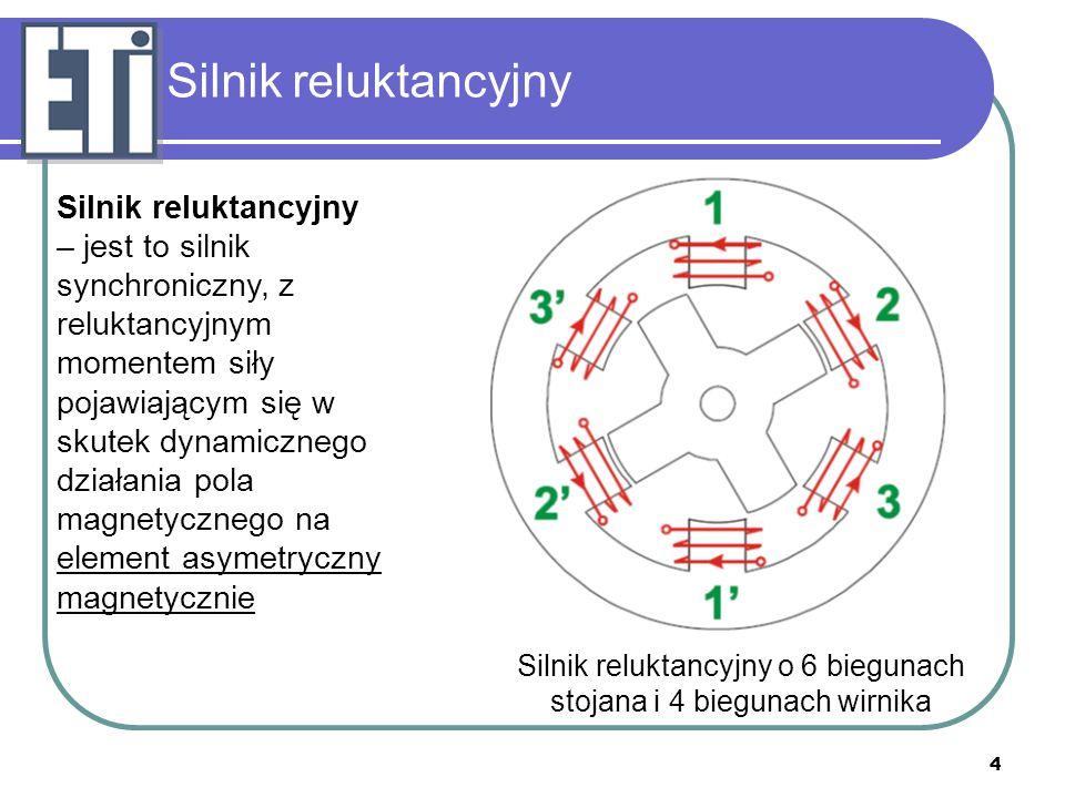 Silnik reluktancyjny o 6 biegunach stojana i 4 biegunach wirnika