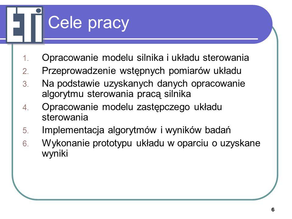 Cele pracy Opracowanie modelu silnika i układu sterowania