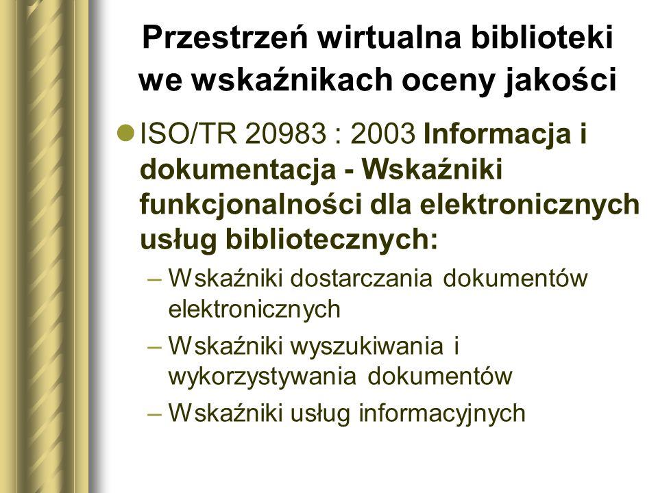 Przestrzeń wirtualna biblioteki we wskaźnikach oceny jakości