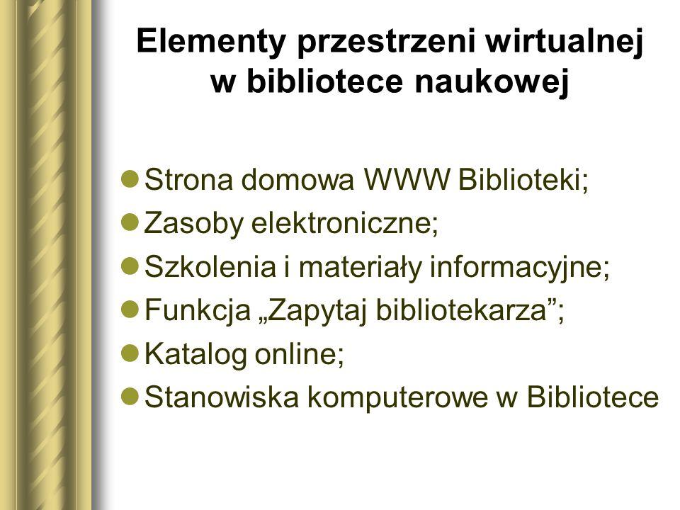 Elementy przestrzeni wirtualnej w bibliotece naukowej