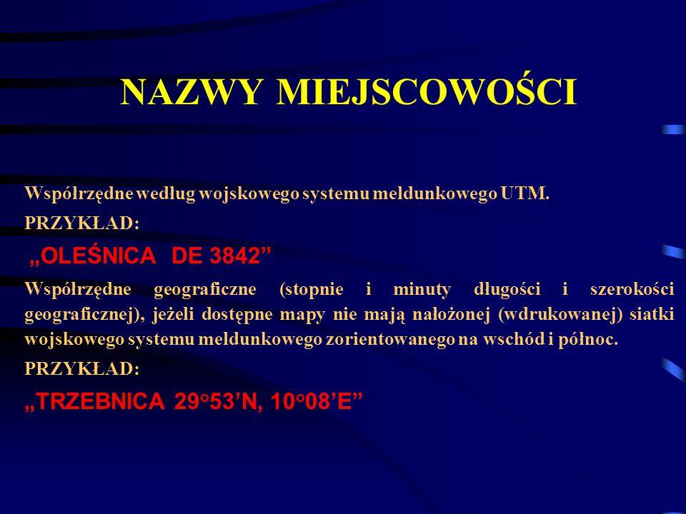 """NAZWY MIEJSCOWOŚCI """"TRZEBNICA 29o53'N, 10o08'E"""